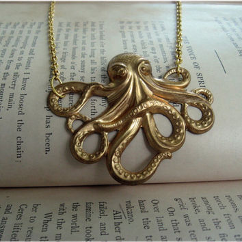 Bright Gold Octopus Necklace by sodalex on Etsy