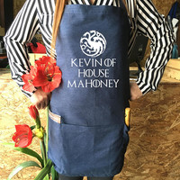 Personalized  Custom Game of Thrones Apron House Name Personalized Game of Thrones, Personalized Jean apron Kitchen Game of Thrones Gift,