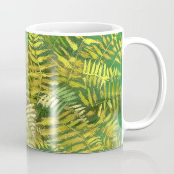 Golden Fern, floral art, green and yellow Coffee Mug by Clipso-Callipso