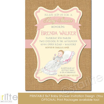 Baby Shower Invitation, vintage baby girl, baby shower - Princess - pink, brown burlap - 5x7 - vintage style unique - Printable - You Print