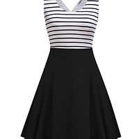 MISSKY Women's Open Back Sleeveless Sexy Hollow out Slim Fit Black White Stripe Casual Cocktail Cute Mini Swing Dress