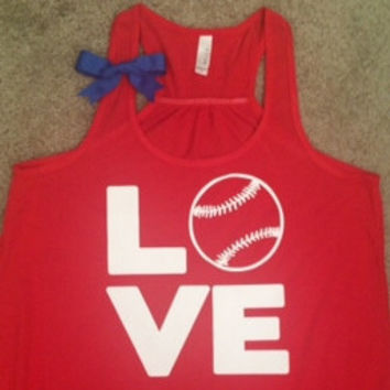 Love Baseball Tank - Red - Ruffles with Love - Fun Tank - LOVE Symbol Tank