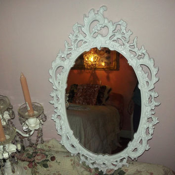 Ornate vintage baby girl nursery, shabby chic, farmhouse, Country cottage, Paris chic gloss white mirror