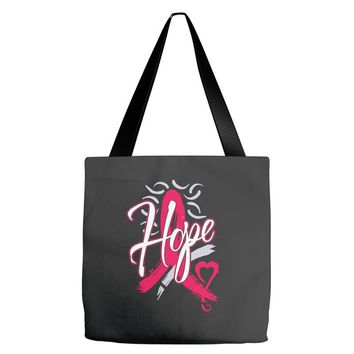 breast cancer awareness hope ribbon heart Tote Bags