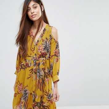 Whistles Cactus Print Cold Shoulder Dress at asos.com