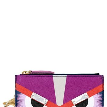 Women's Fendi 'Monster' Crystal Embellished Leather Key Pouch - Blue