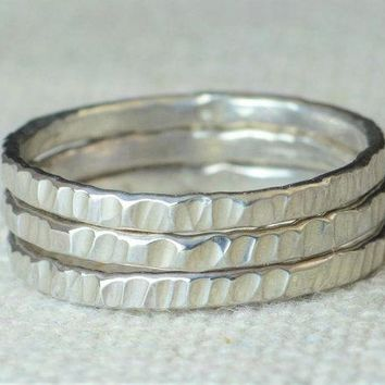 Classic Silver Tree Bark Stacking Ring