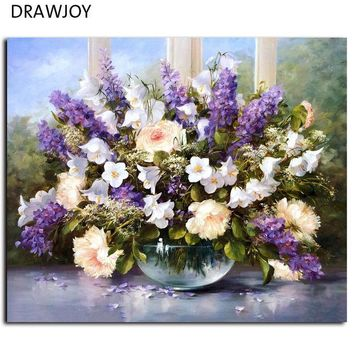 ESBONHS DRAWJOY Framed Picture Painting By Numbers Modern Flower Home Decor For Living Room Hand Unique Gifts G053 Picture Wall Art