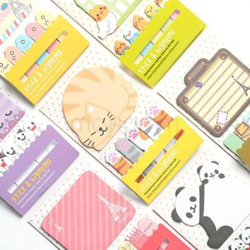 DCCKL72 Animal Cat Panda Cute Kawaii Sticky Notes Post It Memo Pad School Supplies Planner Stickers Paper Bookmarks Korean Stationery