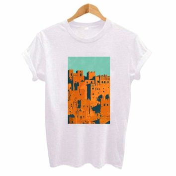 City Landscape Print Top T shirt