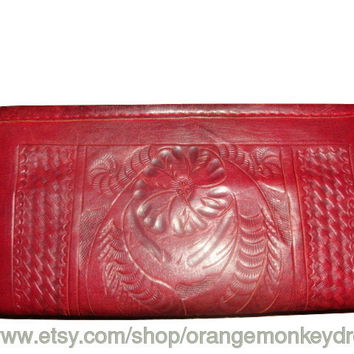 vintage 80s rustic red TOOLED leather wallet coin purse BIFOLD checkbook wallet
