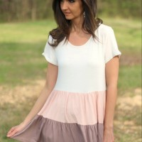 143 Story Ivory, Pink, and Taupe Color Block Tiered Ruffle Tunic Top with Short Sleeves