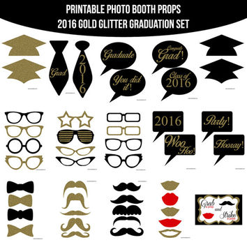 Instant Download 2016 Gold Glitter Graduation Graduate Grad Class of 2016 School Printable Photo Booth Props Photobooth Props