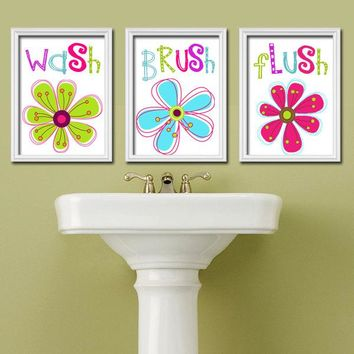 Girl Bathroom Wall Art, Girl Bathroom Decor, Colorful Floral Bathroom Rules, Bathroom CANVAS or Prints, Set of 3, Bath Quotes Pictures