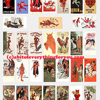 devils demons vintage art postcards domino collage sheet 1 x 2 inch images digital download graphics clipart domino pendant printables