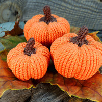FREE SHIPPING, Set of Three Crochet Pumpkin, Crochet Fall, Autumn Decor, Pumpkin decor, Thanksgiving Decoration, Gift for child
