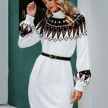 Tribal Turtle Neck Sweater Dress Without Belt
