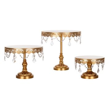 3-Piece Crystal Cake Stand Set (Gold)