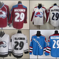 Cheap Colorado Avalanche #29 Nathan MacKinnon Jersey Burgundy Red White Teal Blue Nathan MacKinnon Stitched Jerseys