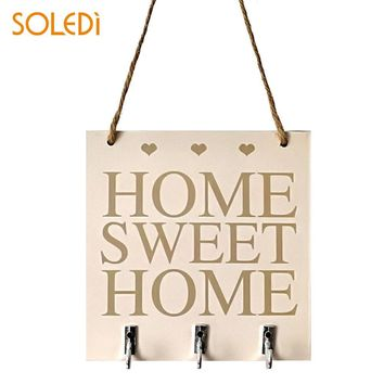Wood Poster Wall Wood Sign Plaque Practical Home Sweet Home Wood Key Hanger Livingroom Wall Decorative Bedroom