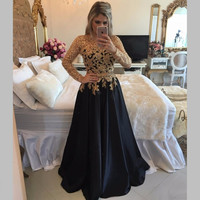 vestidos de formatura A line Elegant O-neck Long Sleeves Prom Dress robe de soiree Appliques Black Long Prom Dresses 2017 PD205