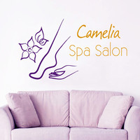 Custom Logo Decal Spa Salon Wall Decal Floral Vinyl Sticker Beauty Salon Decor Make Up Murals Interior Design Living Room Decor Art KI134