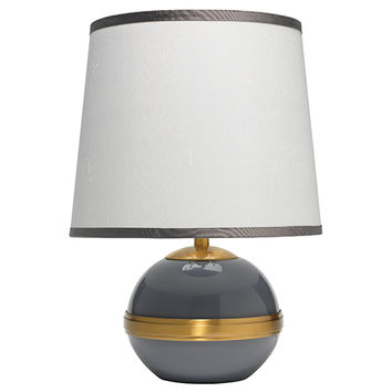 Jamie Young Company 1STOC-SMDO-2TALL-T988SM Stockholm Dove Gray One-Light Title 24 Accent Table Lamp with Small Tall Cone Shade