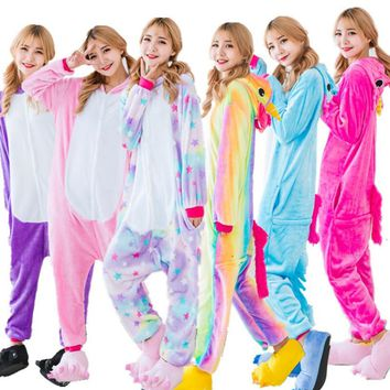 New Warm Flannel Unicorn Pajamas Sets Nightie Adult Pijama Cosplay Costume Pajamas Sleepwear Unisex Winter Pajamas