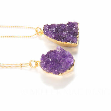 Druzy Necklace | Purple Druzzy Necklace | Boho Necklace | Bohemian Necklace | Boho Jewelry | Drusy Necklace | Gemstone Necklace