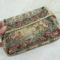 Vintage Tapestry Clutch Bag with Mirror , Foldover Accessory Bag , Retro 60's Dressy Casual Evening Bag