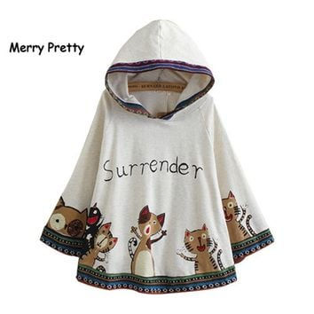 Trendy Merry Pretty cloak coat women autumn cartoon print batwing sleve hoodies jackets poncho pullover kawaii cloak hooded outwear AT_94_13