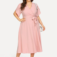 Plus Wrap Waist Belted Petal Sleeve Dress