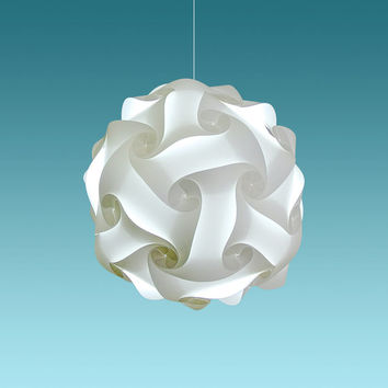"Akari Lanterns Medium Swirl 16"" Cool White Glow, Modern Ceiling Hanging Light Fixtures Plug in or Hardwire Pendant Lamp Shade, bulb included"