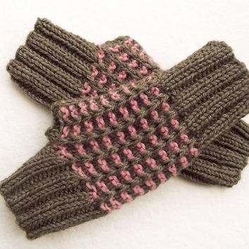 FREE SHIPPING,Knit Fingerless Gloves in Salmon Pink and Brown Taupe,Knit Mittens,Wrist Warmer,Handmade Woolen Gloves,Knit Women Accessory