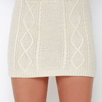 Others Follow Cambridge Cream Knit Skirt
