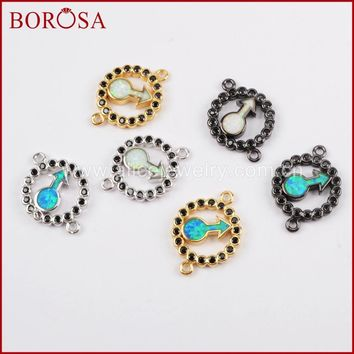 BOROSA Fashion Black CZ Stone Pave Rainbow Man-made Opal Round Arrowhead Druzy Connector for DIY Bracelet Bangles Jewelry WX638