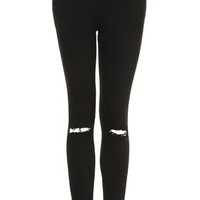 PETITE MOTO Black Ripped Jamie Jeans - Washed Black