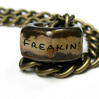 Freakin' Nut Job, Industrial Chic, Hex Nut Necklace, Metal Jewelry, Antiqued Brass, Humorous, Gifts For Men, Biker, Steampunk, Mature