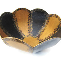 Decorative Bowl hand painted in black and gold minimalist modern home decor, petal shaped bowl, scalloped edges paper mache bowl