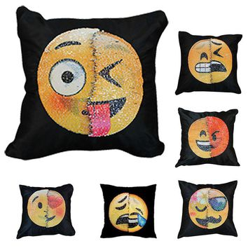 Hoomall Changing Face Emoji Cushion Cover Sequins Sofa Pillows Magic Pillowcase Christmas Decorations for Home Kids Toys Gifs