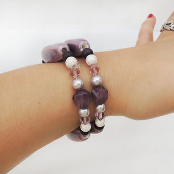 Purple and Silver Double Elastic Bracelets Handmade by Lindsey - Lavender Purple Stacking Bracelets - Silver - Elastic