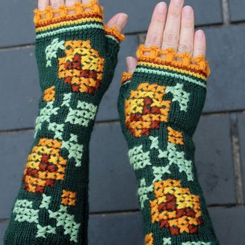 Hand Knitted Fingerless Gloves,Gift Ideas, Spring Celebrations, For Her, Winter Accessories,  Women, Accessories, Gloves & Mittens, Green