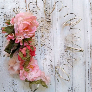 Vintage recycled shabby chic bed spring wreath, farmhouse distressed metal home decor Anita Spero