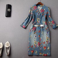 Flower denim winter blue jean dress