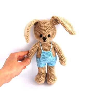 crocheted boy bunny blue beige stuffed bunny amigurumi Easter bunny, crocheted hare rabbit, gift for Easter for boy