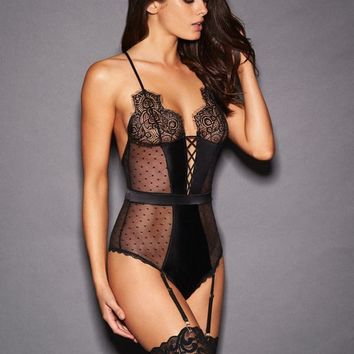 Gia Karolina Satin And Eyelash Lace Teddy