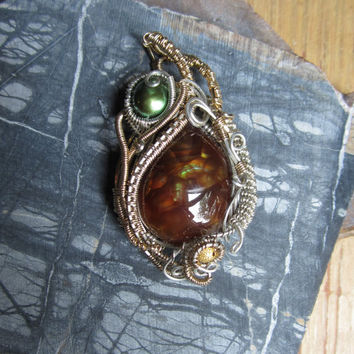 Fire Agate Wire Wrapped Pendant, OOAK Jewelry