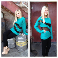 Teal Knit with Black Mesh Sweater