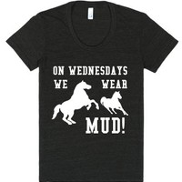 On Wednesdays We Wear Mud-Female Tri-Black T-Shirt