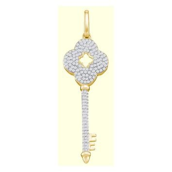 10kt Yellow Gold Womens Round Diamond Quatrefoil Key Pendant 1/2 Cttw